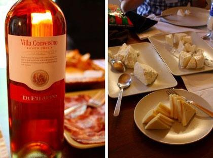 ロゼとペコリーノ&カプラのチーズの盛り合わせ