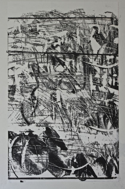 notation 2012   monotype print   ink  on  rice paper   75 x 110  cm