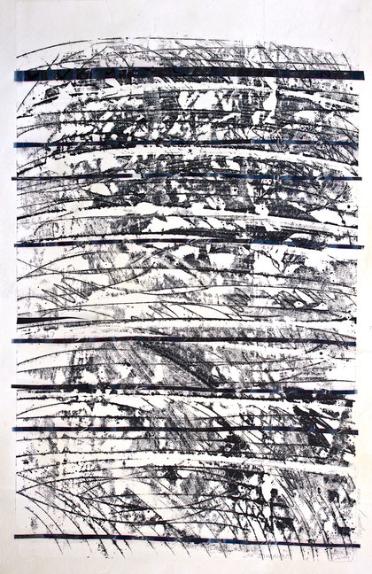 second movement (from a moravian summer)  2011  monotype  ink  rice paper  75 x 110 cm