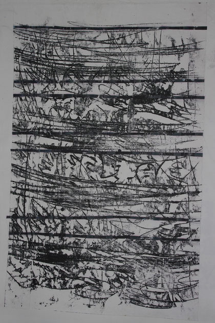 notation  2012   monotype  ink on ricepaper    75 x 110 cm