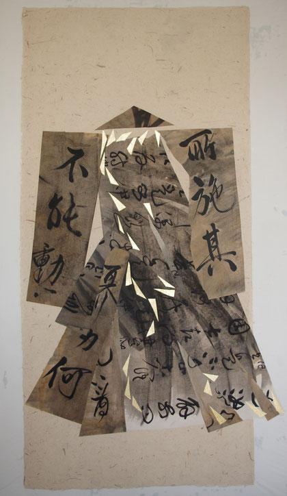paper kimono 2012 collage  ink  broux de noix   gold foil   hemp paper  165 x 80 cm