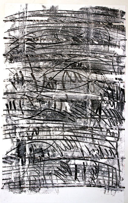 notation 2012   monotype  ink  rice paper  75 x 110 cm