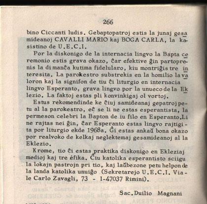 Articolo di giornale riguardante il Battesimo di S.A.S.  Don Guerrino Antonio I in Rimini in lingua ESPERANTO