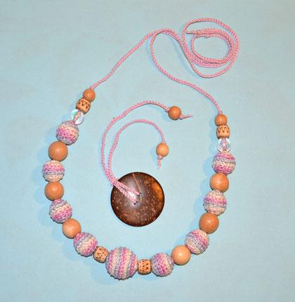 """Слингобусы """" Розовый меланж"""" с кокосовой пуговицей,вязаные бусы 650 руб."""