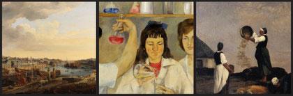 Van Blarenberghe, Vue du port de Brest  ; Dieter Dressler, Forschungslabor im Textilkombinat Cottbus ; Daubigny, Les vanneuses à Kérity. © Musée des beaux-arts de Brest / Kunstmuseum Dieselkraftwerk C
