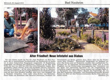 Wetterauer Zeitung vom 28. August 2013