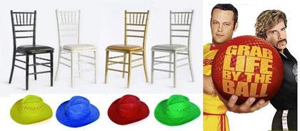 Gorras, sillas y pelota = Diversión