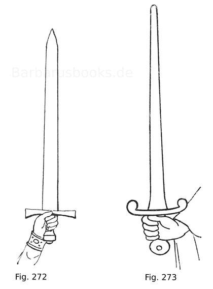 Fig. 272. Schwert Kaiser Heinrichs II. des Heiligen (gest. 1024), aus dessen Missale vormals im Domschatz zu Bamberg. Kgl. Bibliothek in München. Nach Hefner, Trachten I, 2. Fig. 273. Schwert Wilhelms II. des Roten, König von England (1087—1100). Aus eine
