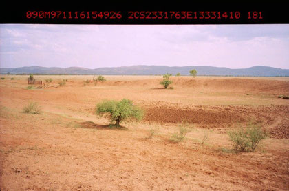 Wadi is a ephemeral dry riverbed that contains water only during times of heavy rain or simply an intermittent stream. Photo was taken at Lat. 23/31/76 S, Long.133/31/410 E, in northern Territory, Australia. Photo by T. Ishiyama.