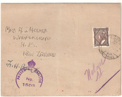 'Card Wrapper to NZ from NZ Forces in Egypt from 1942. Censored.