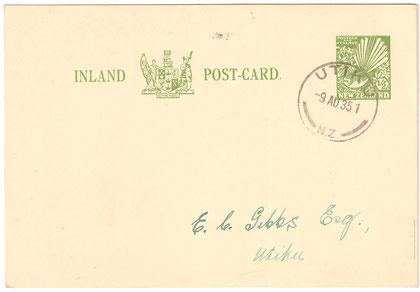 9th of August 1935,Postal stationery card, Utiku to Utiku. Pre printed stamp on card.