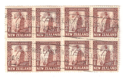 14 x13.5, used block of 8,Wellington 1937.