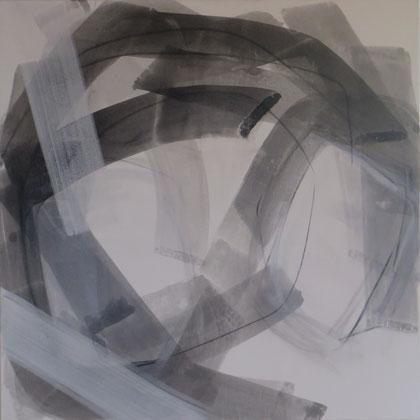 Strokes 1,  Tusche mit Kreidegrund auf Leinwand, 100/100cm