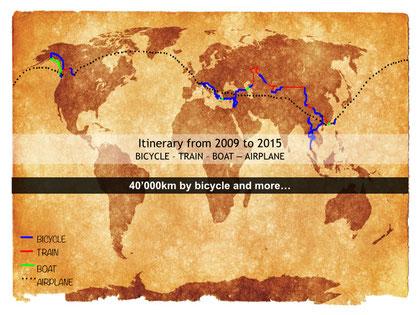 Carte du voyage à vélo autour du monde, bike touring, laetitia, entreicietla
