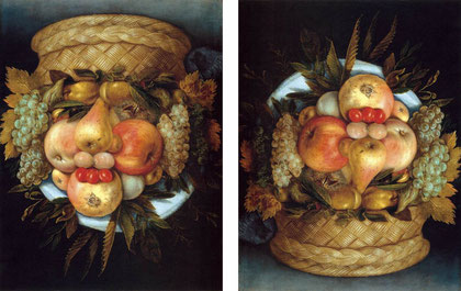 "Giuseppe ARCIMBOLDO, ""Tête réversible avec le panier du fruit"", vers 1590, French & Company, New York (source : Web Gallery of Arts)"