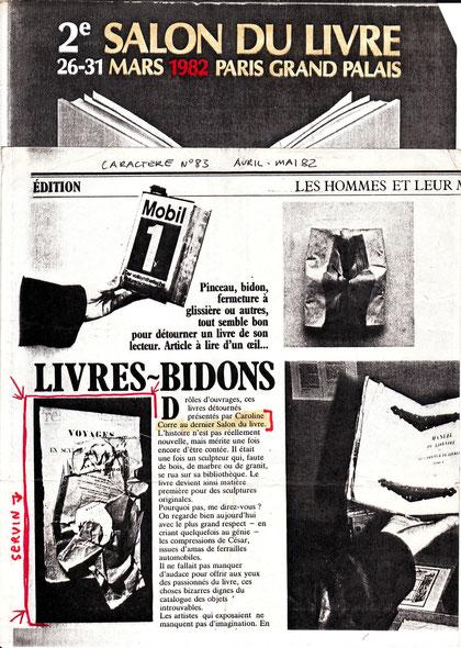affiche du Salon du LIvre avec article de journal avec une oeuvre de SERVIN