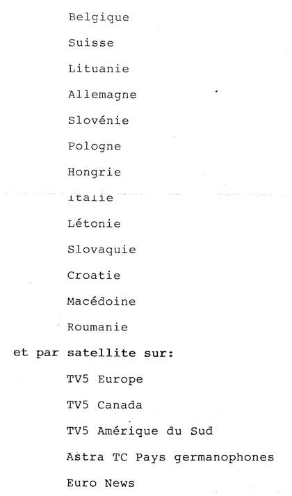 Liste des pays ou  fut diffusée l'émission