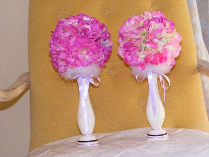 BO060 - Bomboniera e-o segnaposto Shabby chic con fiori di tessuto - € 22,00 cad.