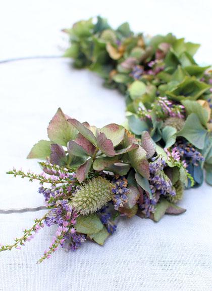 wanddeko diy,diy wandkranz,hortensien kranz,kranz trockenblumen