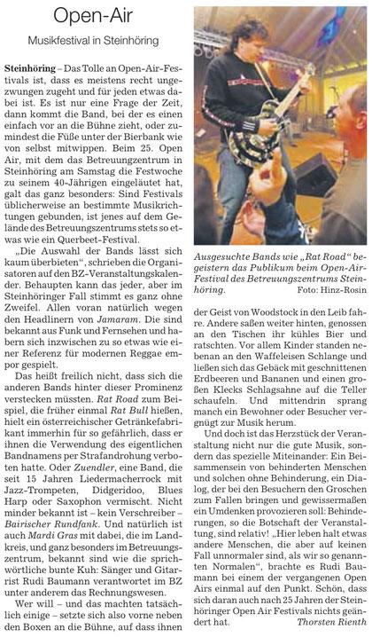 Bericht über das Open Air in Steinhöring, Juli 2011 (SZ)