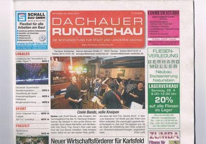 """""""Titelseite"""" Dachauer Rundschau vom 25.04.2012 (Kneipenfest)"""