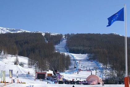 Zielschuss der Olympiapiste von Turin 2006 in SanSicario.