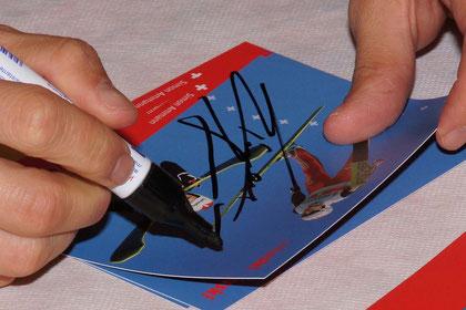 Simon Amman's Autogramm ... viermal Olympisches-Gold wert ....