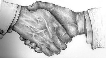 Hände reichen wegen dem Benehmen, Angenehm, Angenehm