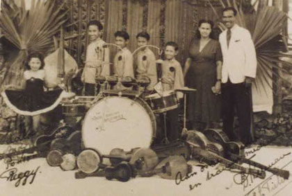 The Tielman Family  in Surabaya, Indonesia 1947 l/r: Jane, Reggy, Ponthon, Andy, Loulou, Mother Flora Lorine Hess, Father Herman Tielman