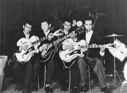 The 4 T's showing their brandnew (Egmond) Miller and Wilson guitars. (Breda 1957)