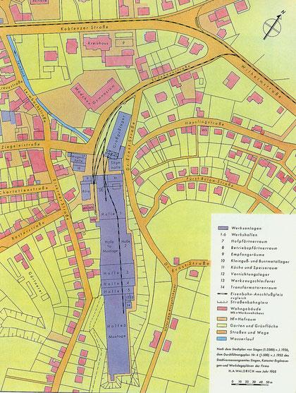 Abb. 2: Lageplan von Werk III aus dem Jahre 1955 (Zeichnung Waldrich, Siegen).
