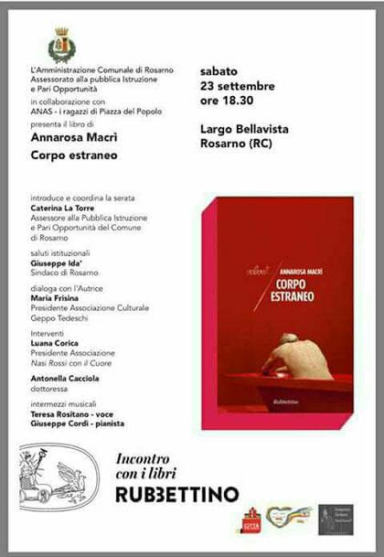 """Presentazione del volume """" Corpo Estraneo"""" di Annarosa Macrì"""