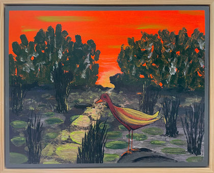 """""""Water Fowl at Sunset"""" 54cm x 44cm Multi Media on Canvas, pine wood frame $250 (excluding freight)"""