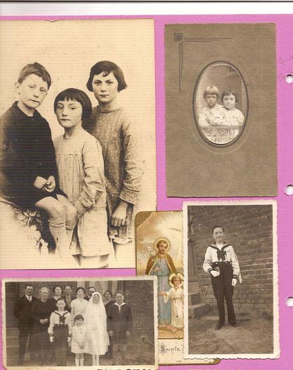 En haut à gauche : Jacques, Renée et Loulou. A droite : Jacques et Christiane. En bas à gauche, la communion de Loulou. A droite, Jacques en costume, le jour de la communion de sa grande soeur. Les images pieuses ne sont jamais loin...