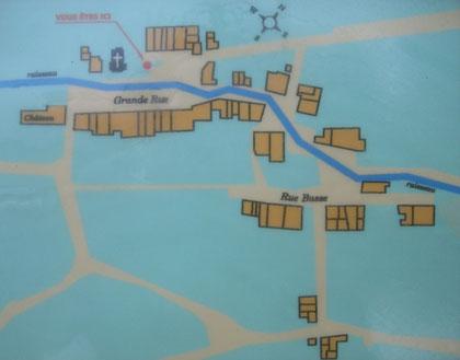Übersichtskarte des ehemaligen Dorfes