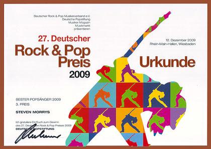 Bester Popsänger 2009 3. Platz