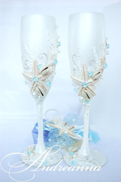 """Свадебные бокалы """"Сокровища морей"""", на перламутрово-белом фоне, с голубым вкраплением,   стоимость 800 грн"""