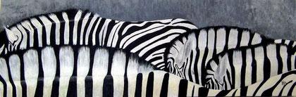 Zebras Acryl auf Leinwand 120x40cm