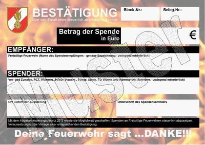 Muster-Spendenblock des Österreichischen Feuerwehrverbandes