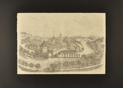 Einrahmung; Grafik erhöht aufgelegt - Bern mit Untertorbrücke, Nydeggkirche und Münster
