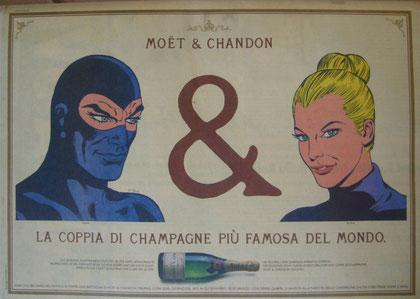 la pubblicità per lo Champagne Moet & Chandon
