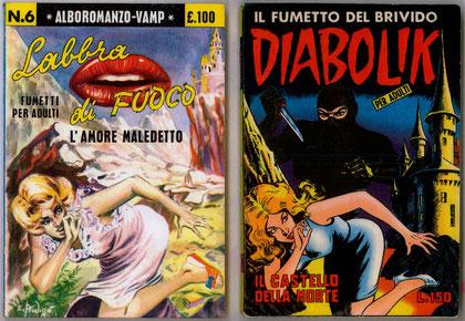 La copertina del n. 6 di Vamp e la copertina del n. 19 di Diabolik