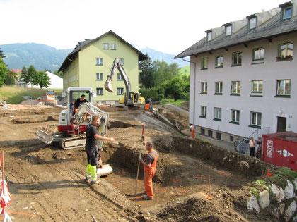 Baustelle im Sommer 2011 zur Errichtung von Carports