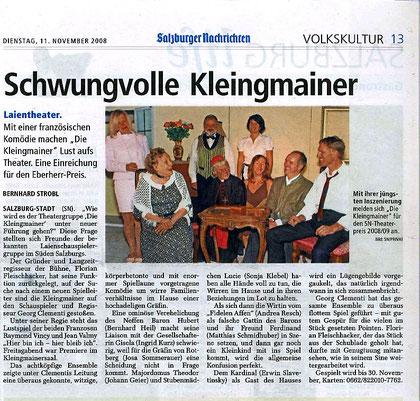 """Mit dem Stück """"Hier bin ich - hier bleib' ich"""" zeigen """"Die Kleingmainer"""" eindrucksvoll ihr Können (Salzburger Nachrichten, 11.11.2008)"""