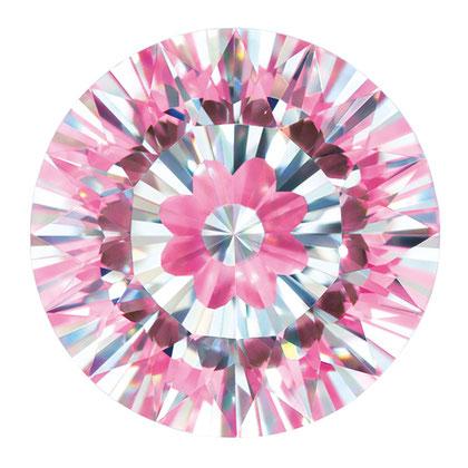ダイヤモンドの中にお花がカットされています