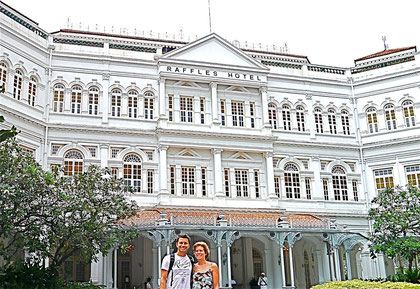 Dingo & Fudgie outside Raffles Hotel, Singapore