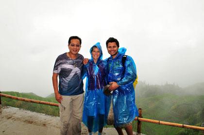 Eric, Deborah and Dean at the Lonji Rice Terraces, Guilin