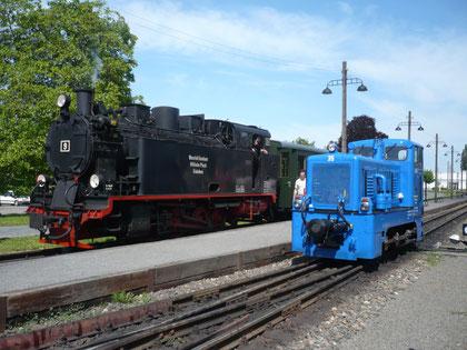 Lok 9 und Lok 35 in Benndorf am 24.5.09 © Maurice Ansorge