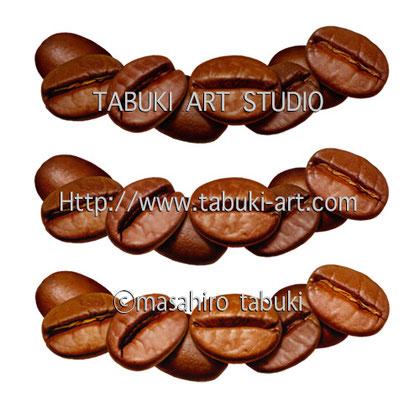 コーヒー豆とバニラのイラスト