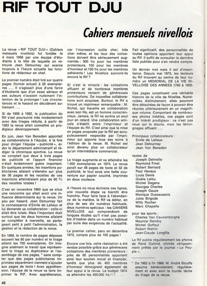 """article paru dans les cahiers de la """"Toison d'Or"""" en 1974"""